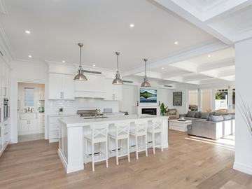 Renting out with online payment: Modern White Open Plan Kitchen with Island Bar